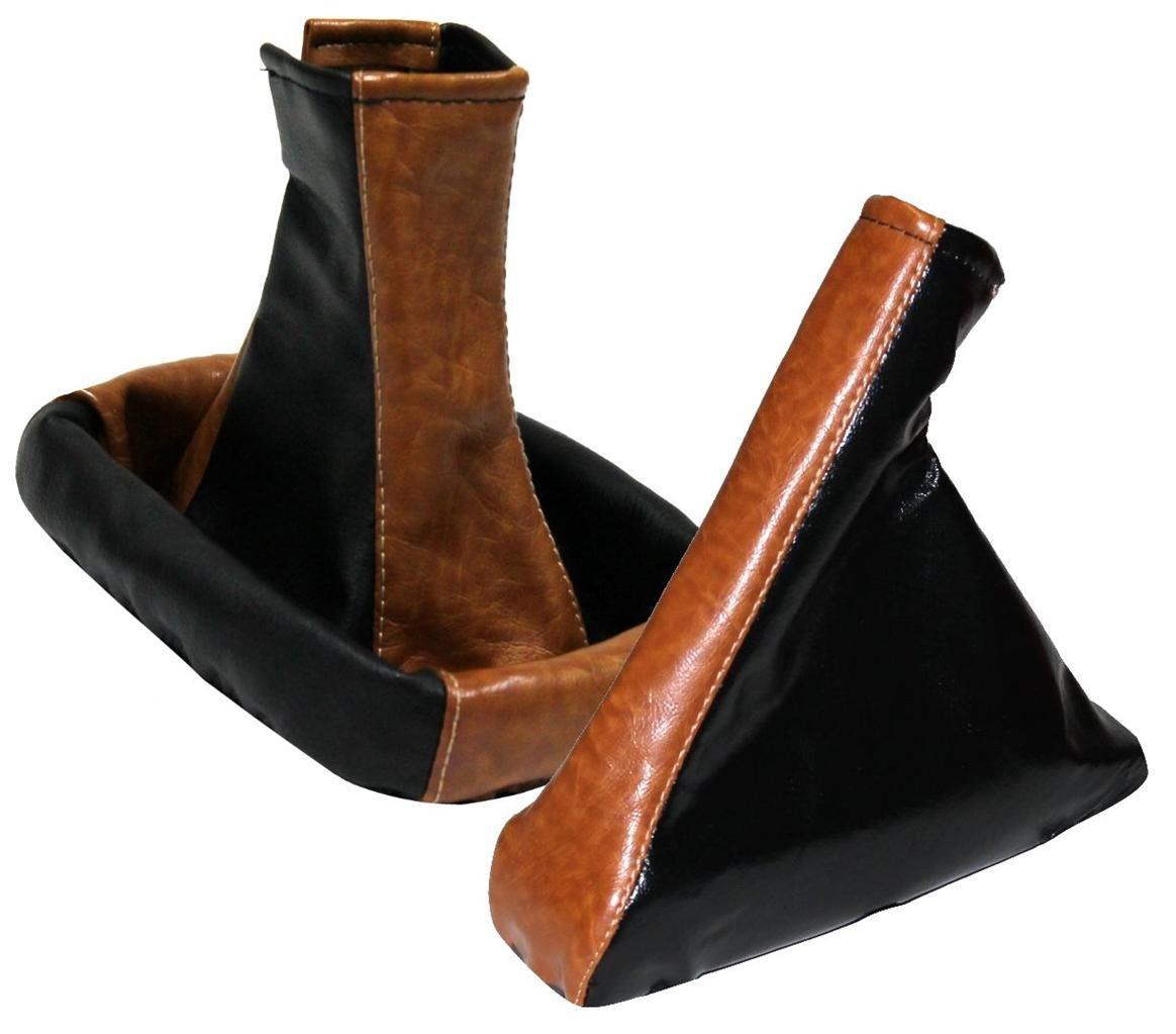 AERZETIX - Soufflet levier de vitesse frein à main marron+noir