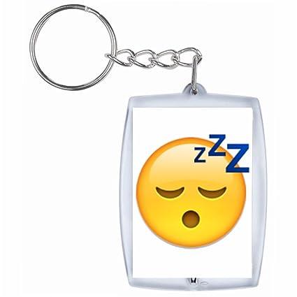 Druckerlebnis24 Llavero Visage Sleepy, Keychain- Smiley ...