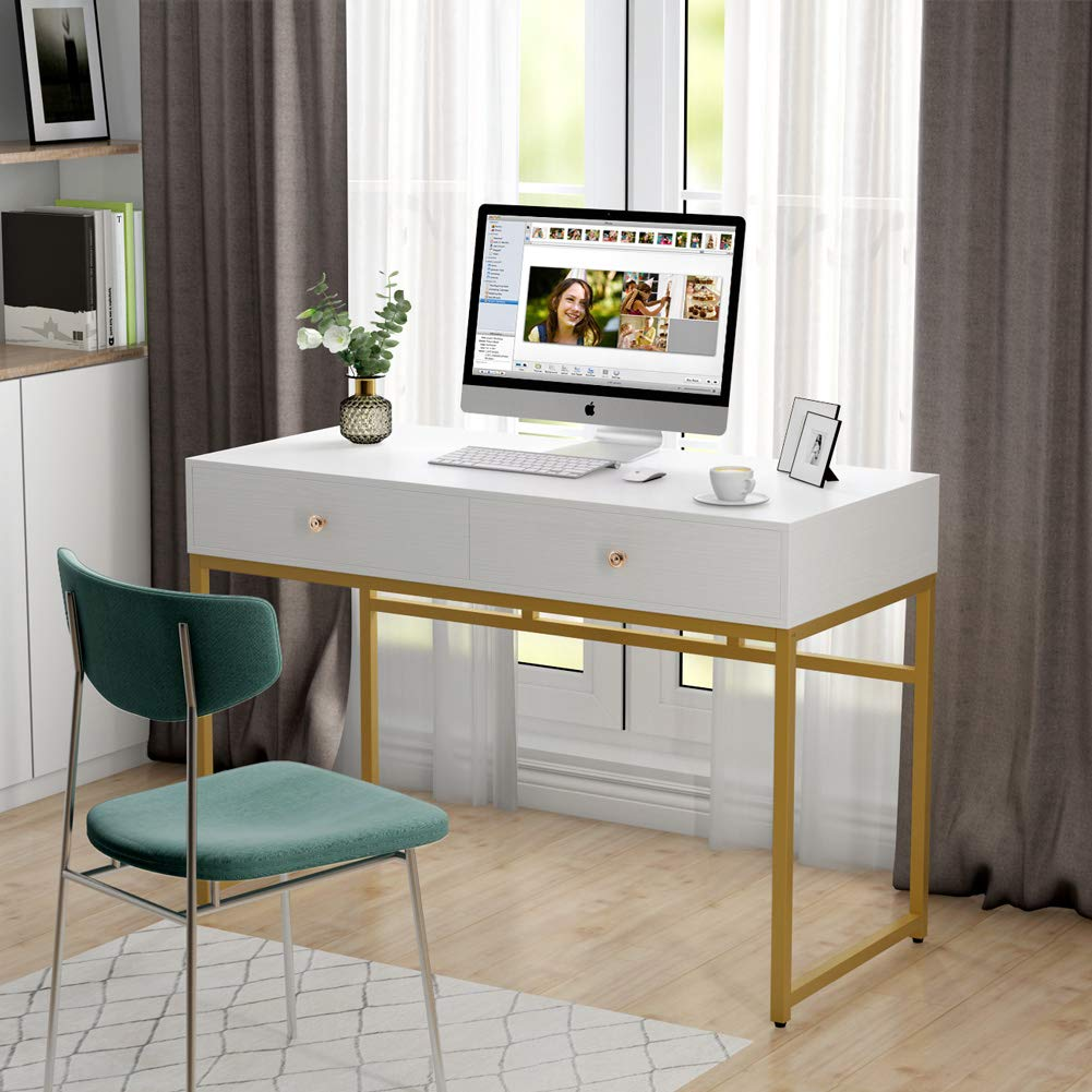 Tribesigns Computer Desk, Modern Simple Home Office Gold Desk Study Table Writing Desk Workstation with 2 Storage Drawers, Makeup Vanity Console Table (47 inch, White) by Tribesigns (Image #2)