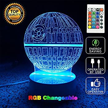 Death Star Star War Bulbing Bedroom Decorative Night Multi 7 Color Change USB Touch Button LED 3D Desk Table Light Lamp