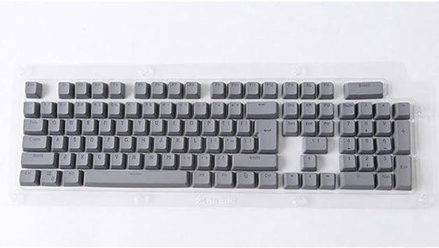 Amesii - 104 teclas retroiluminadas para teclado mecánico Cherry MX con barra espaciadora de doble capa de PBT gris