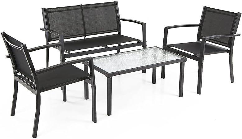 2er set silla de jardín silla de lote balcón silla Textilene negro marco gris oscuro