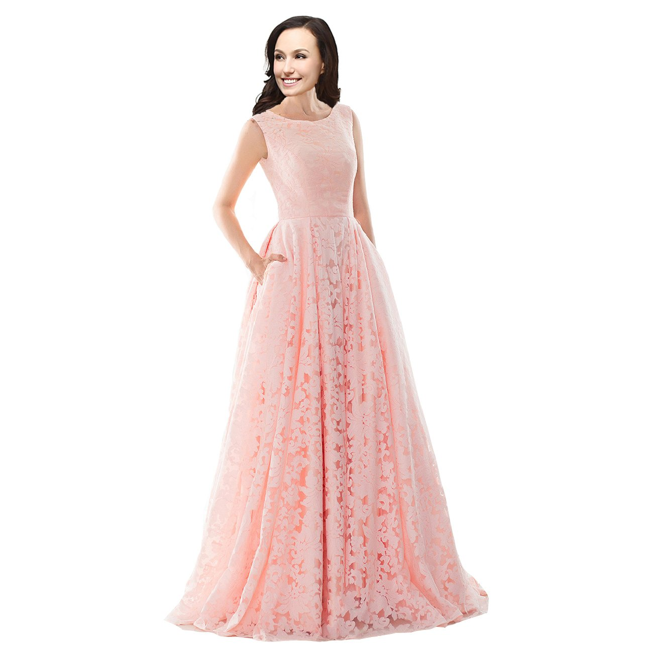 Lemai A Line Lace Corset Simple Sleeveless Long Prom Evening Dresses Plus  Size Peach Pink US 18W