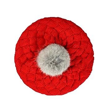 52ea1882f9e2 Tangbasi Bonnet chaud en tricot pour enfant, béret rouge Red taille unique