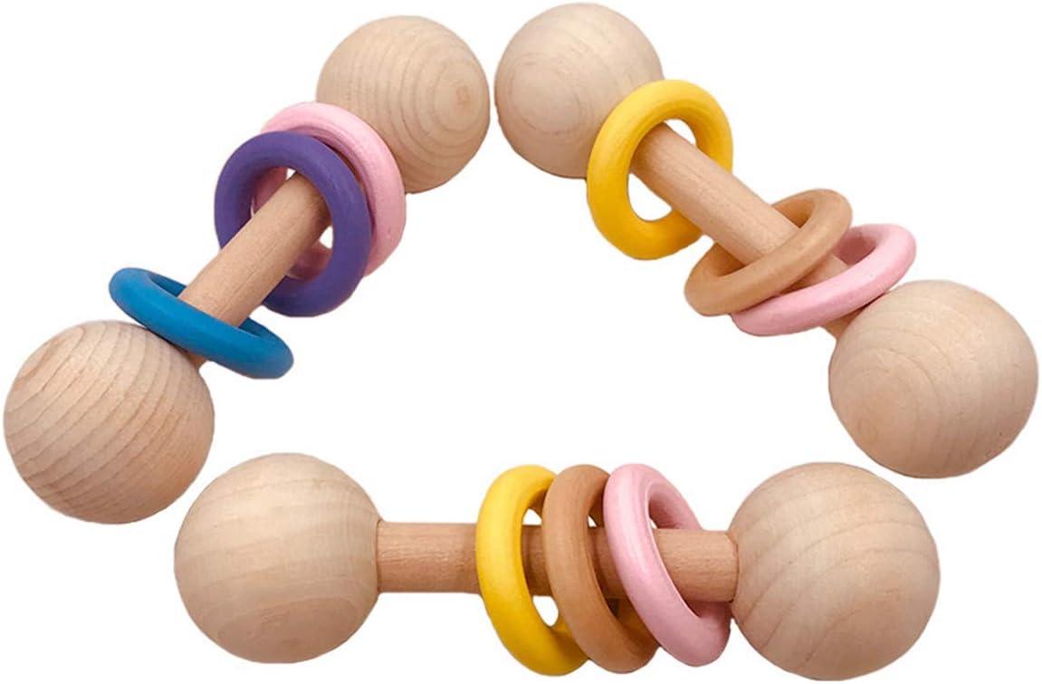 jiheousty Bio-Holz Montessori gestaltete Babyrassel Perfect Greif Greifling Spielzeug f/ür Kleinkinder Natural Wood Safety Paint