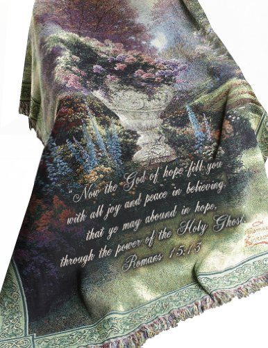Manual Thomas Kinkade 50 x 60-Inch Tapestry Throw with Verse, The Garden of Hope Ghost Tapestry
