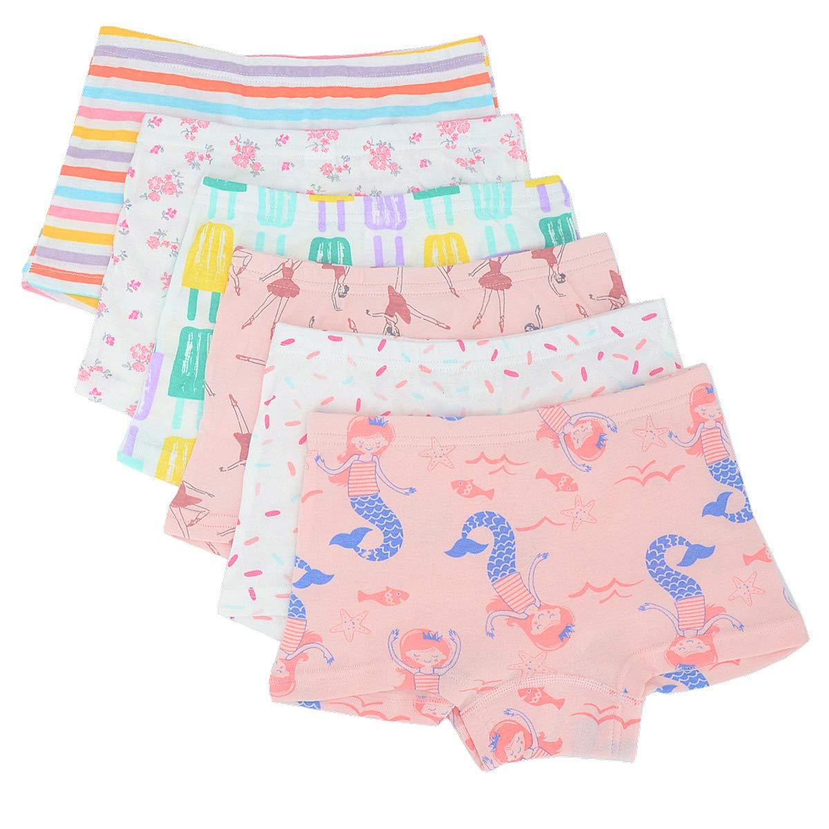 Toddler Little Girls Boyshort Panties Kids Cotton Boxer Briefs Underwear Set 6 Pack