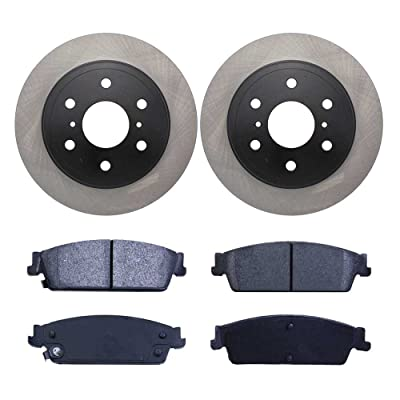Auto Shack RSMK65135-65135-1194-2-4 4 Rear Semi Metallic Brake Pads and 2 Brake Rotors: Automotive