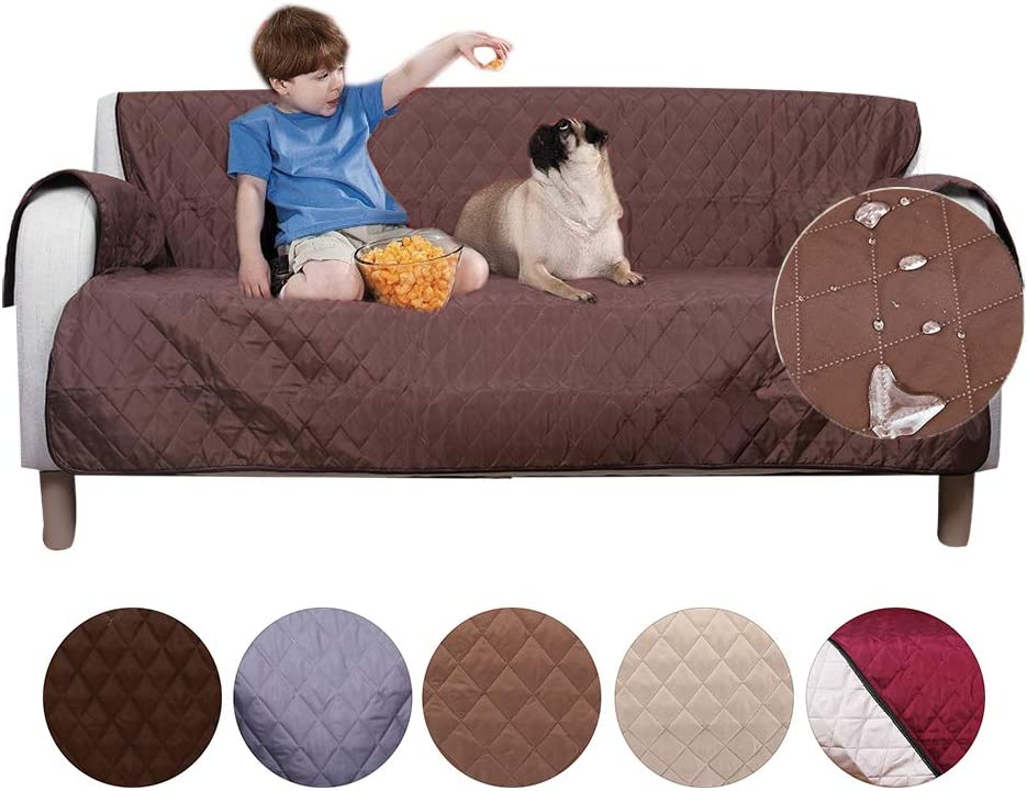 AIMENG Sofa Cover Slipcovers, Waterproof Anti-Slip Couch Covers with Plum Buckle and Elastic Straps – Sofa Covers Protect Furniture from Stains Great for Pets, Dogs, Cats, Kids Sofa Light Brown