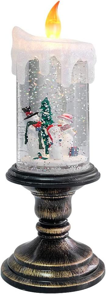 Eldnacele Christmas Snow Globe Candle Battery Operated Lighted Flameless Candles Light Swirling Water Glittering Spinning Candles for Home Decoration(Snowmen Family)