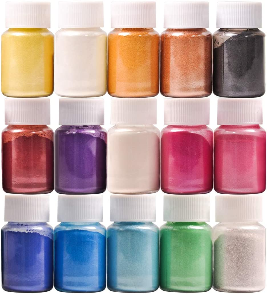 Mica Powder, 15 Colors Pearl Powder Resin in Bottle, Pigment Supplies for Paint/Soap Making/Bath Bomb DIY/Candle Making/Artist/Craft Projects/Fine Arts