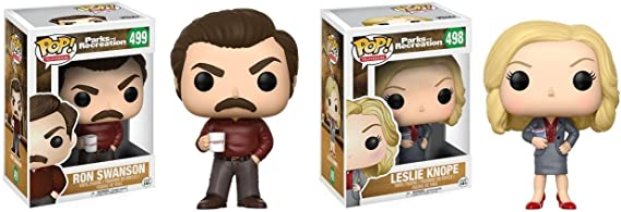 Funko POP! Parks And Recreation: Leslie Knope + Ron Swanson ...