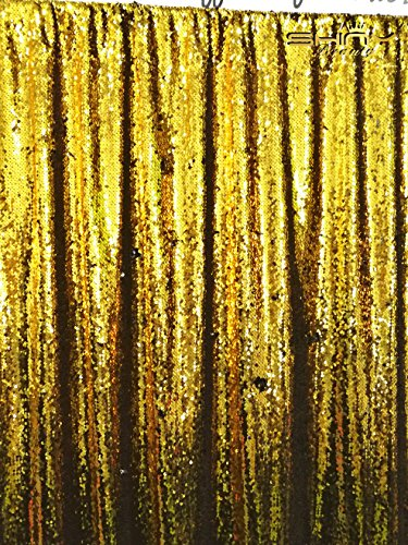 ShinyBeauty Mermaid-Sequin Curtain-Backdrop-Gold&Black-8FTx10FT,Reversible Sequin Fabric Backdrops For Photography,Apply to Party/Wedding/Event/Prom/Birthday by ShinyBeauty