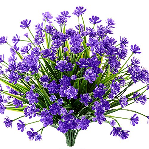- TEMCHY Artificial Daffodils Fake Flowers, 4 Bundles Purple UV Resistant Faux Greenery Foliage Plants Shrubs for Garden, Wedding, Outside Hanging Planter, Farmhouse Indoor Outdoor Decor
