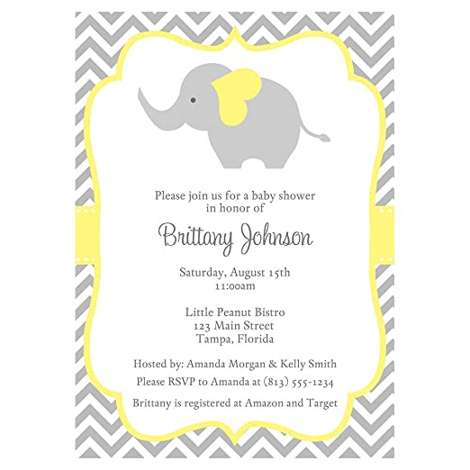Elephant Baby Shower Invitations Chevron Stripes Yellow Pastel Grey Gray Gender Neutral Unisex Little Peanut Polka Dots Invites Customized