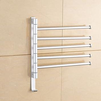 ZHAS Toallas de baño Toallas de perforación Libre Espacio Gire de Aluminio para Colgar la Toalla de baño Cinco tiros Toallero Accesorios de baño: Amazon.es: ...