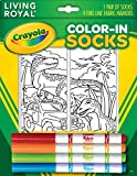 Kid's Crayola Color-In Socks - Includes 1 Pair Of Socks And 4 Fabric Markers - Dinosaur Design