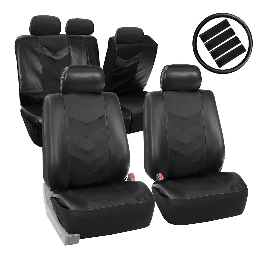 FH Group PU021BLACK-COMBO Seat Cover Premium Synthetic Leather with Accessories Combo Set Airbag Compatible Black
