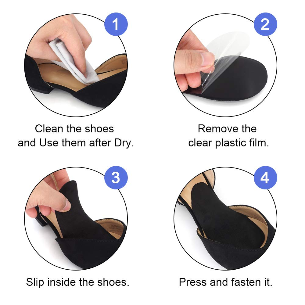 Dr. Shoesert Arch Support Shoe Insoles for High Arch, Flat Feet, Gel Arch Pad Relieve Pressure and Foot Pain for Women and Men (Black)