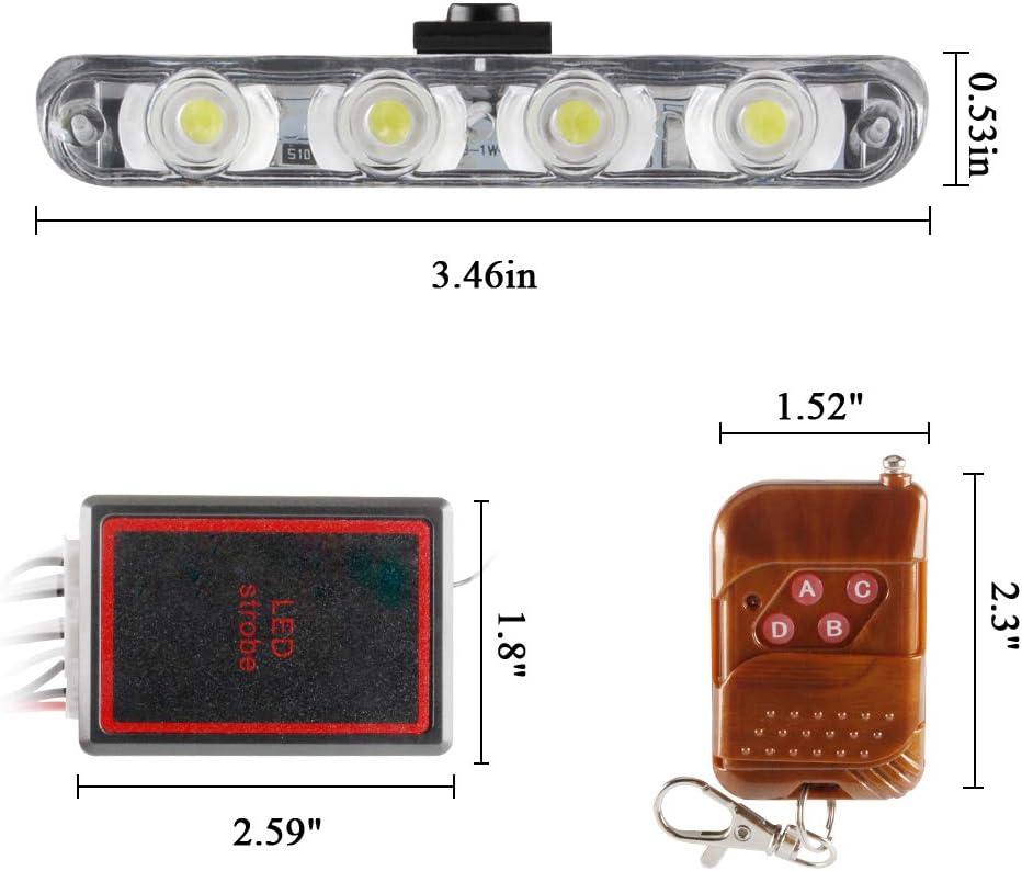 White Amber KaiDengZhe 4x4 LED 4 in 1 Surface Mount Grill Light DC12V Wireless Remote Emergency Flashing Beacon Lamp Police Light Strobe Warning External Light For Truck Trailer Caravan Van