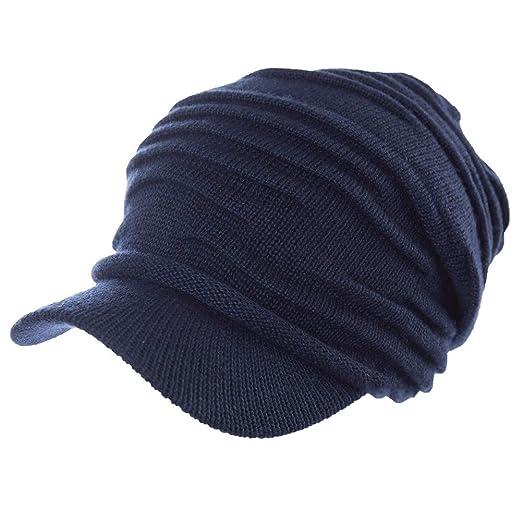 7a74536eba9 Amazon.com  Jeff   Aimy 37% Wool Knit Visor Beanie Mens Winter Hat Brim  Cuff Newsboy Jeep Cap Cold Weather Hat 2-Layer Navy  Clothing