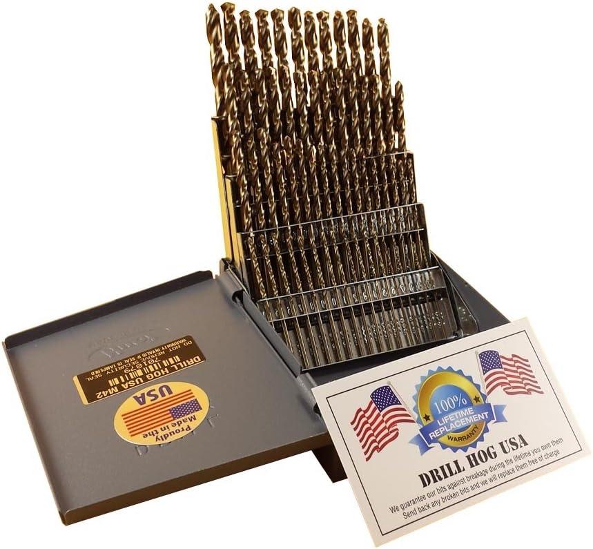 Kodiak USA Made #9 Wire Diameter Drill Cobalt Jobber Length 12Pcs Jobber Length Wire Diameter Drill Bits Cobalt Cobalt