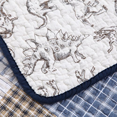Cozy Line Plaid Dinosaur Prints Reversible Quilt Sets 3-Pcs Bedding, Teen Boy, Full/Queen (Boys Queen Quilt Bedding)