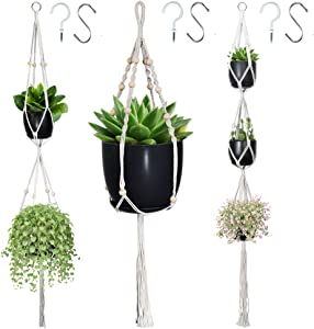 Macrame Plant Hangers, Hanging Planters Set of 3 with 6 Hooks, Hanging Planters for Indoor and Outdoor Plant Décor, Different Tier (3 Sizes)