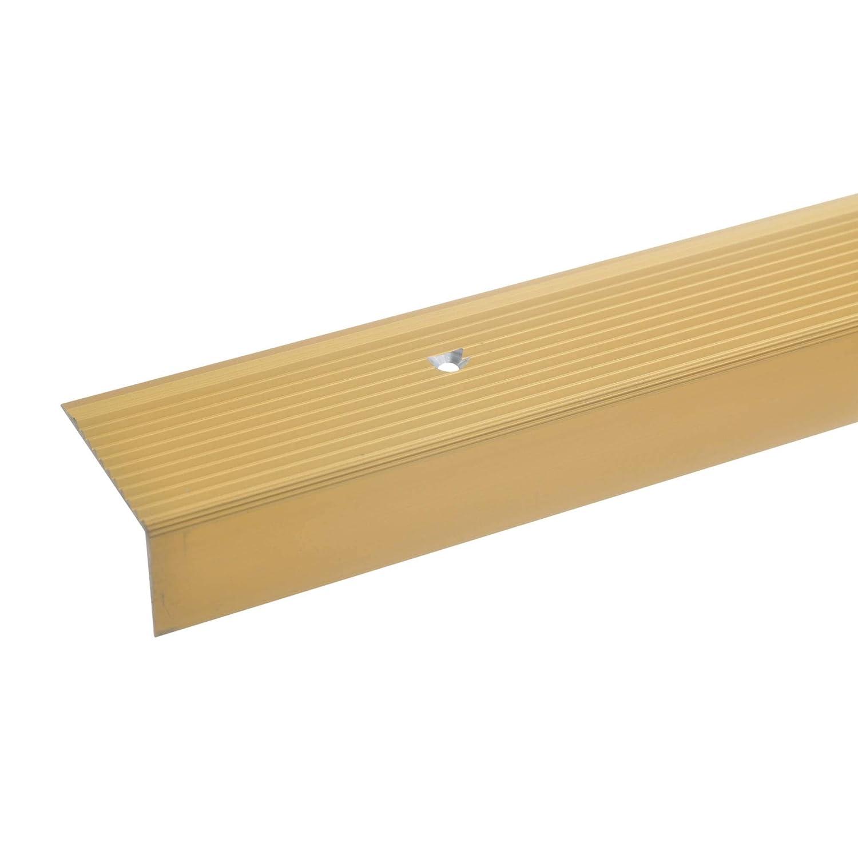 Gelochtes Stufenkanten-Profil gold * Rutschhemmend * Robust * Leichte Montage Treppenprofil acerto 32500 Aluminium Treppenwinkel-Profil 100cm Treppenstufen-Profil aus Alu 20x40mm Treppenkanten-Profil