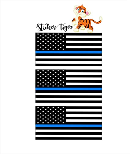 2Pcs American Flag Thin Blue Line Cop Police Vinyl Decal Sticker Car Window US