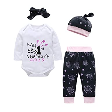 da8e215a69d8 MAMOWEAR Newborn Baby My 1st New Year's 2019 Outfits Long Sleeve Romper  Firework Pants Set with