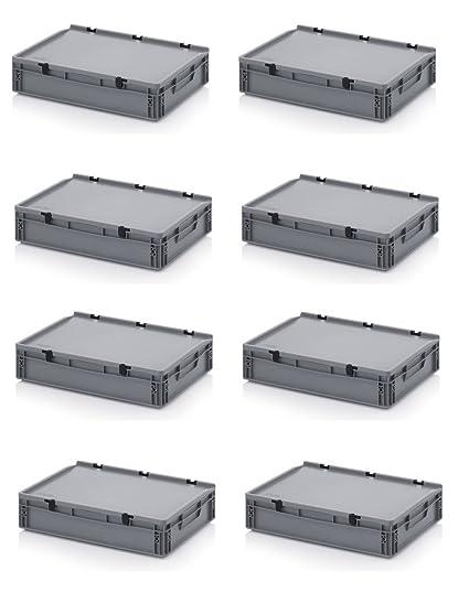 8 x Euro de cajas Euro Box 60 x 40 x 13,5 cm tapa