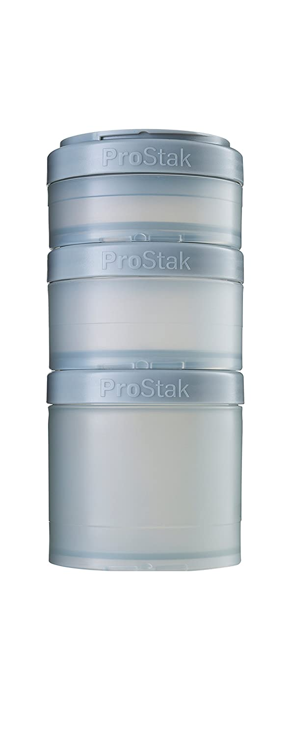 BlenderBottle C01730 pro stak ProStak Twist n' Lock Storage Jars Expansion 3-Pak with Pill Tray, Pebble Grey