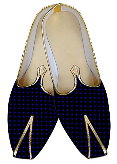 Mens Black and Blue Dot Wedding Shoes MJ015815