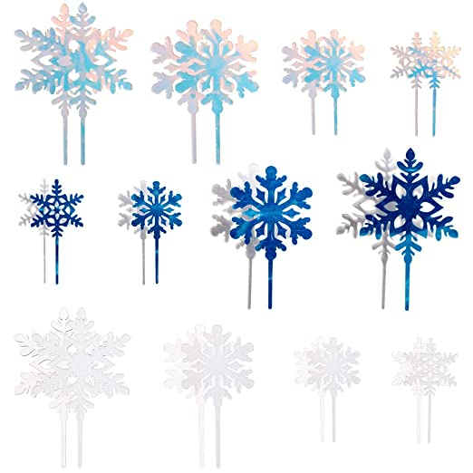 36 piezas de copos de nieve Cupcake Toppers Pastel de bodas ...