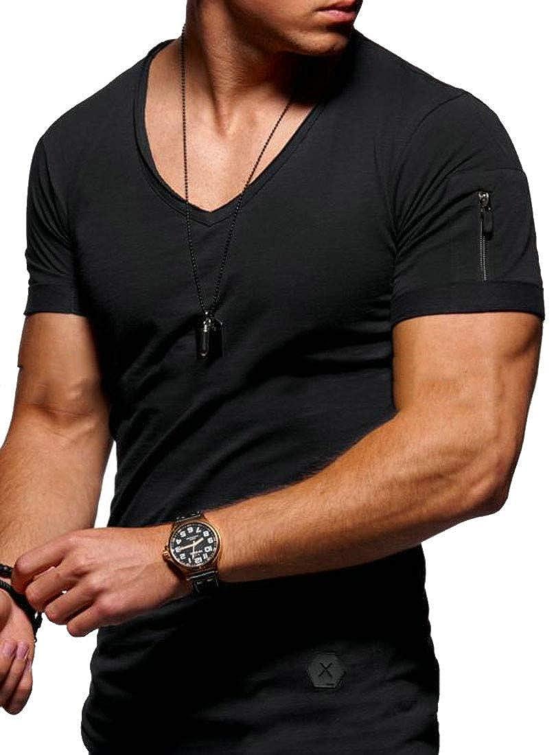 XiaoTianXinMen XTX Mens Crewneck Summer Slim Fit Casual Zipper Short Sleeve T-Shirts