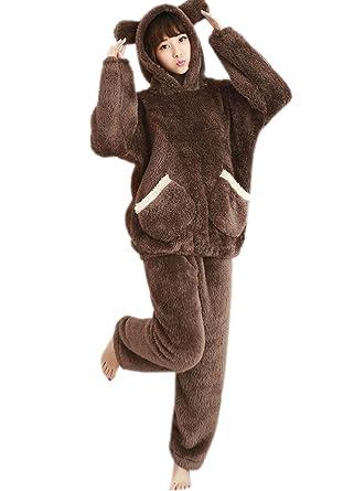 Royanney パジャマ モコモコ ルームウェア レディース 冬 もこもこ 耳付き クマ パジャマ みみ 着ぐるみ 暖か 部屋