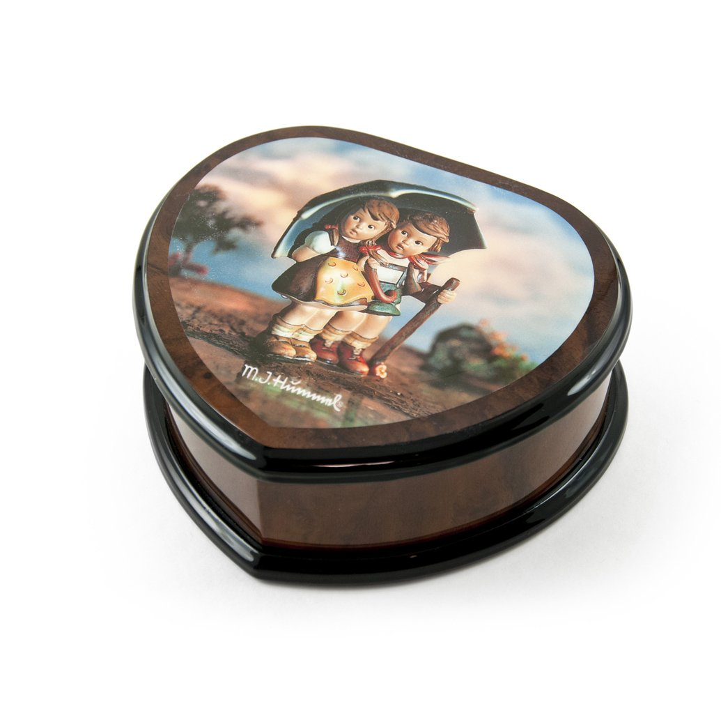 Nostalgic Heart Shape Painted Ercolano Music Jewelry Box Titled -Stormy Weather by MI Hummel - Diamonds are a Girls Best Friend