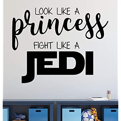 Vinyl Wall Decal for Girl's Bedroom or Playroom | Star Wars Princess Jedi Quotation | Small, Large Sizes | Pink, Purple, Black, White, Gold, Silver, 25 Colors: Handmade