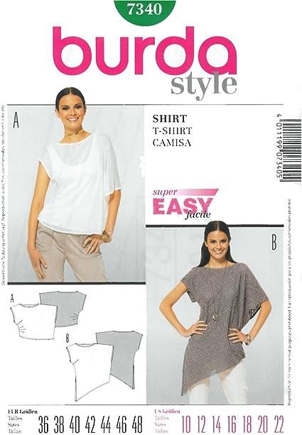 Patrón Camiseta Asimétrica Mujer – Burda 7340 : Amazon.es ...