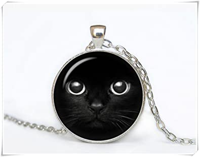 JUN Collar de gato para dormir, joyería para gato, regalo de gatito para mujer hecho a mano, plata bronce negro animal colgante: Amazon.es: Joyería