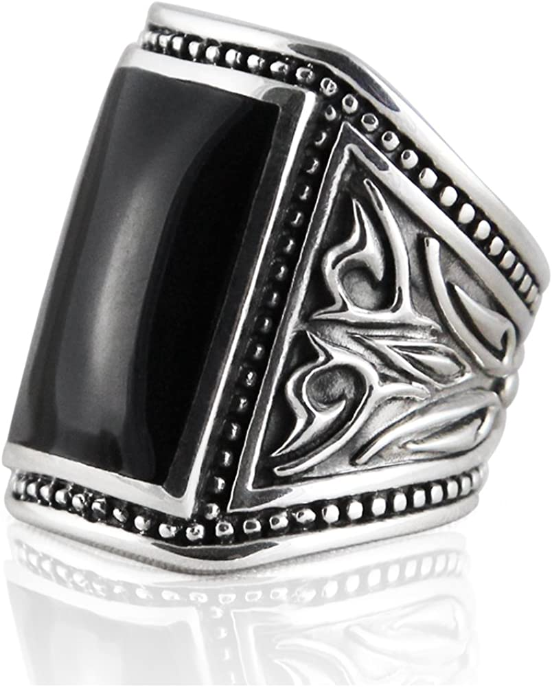 VY JEWELRY Solid 925 Sterling Silver Onyx or Shell Men Rings - Made in Thailand