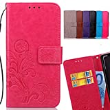 LEMORRY Samsung Galaxy C9 Pro Case Leather Flip Wallet Pouch Slim Fit Bumper Protection with Magnetic Strap Stand Card Slot Soft TPU Cover Pouch, Lucky Clover Pink