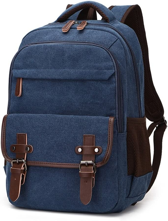 LHQ-Camera Bag Durable Men//Women Backpack Daypack Waterproof Vintage Zipper Canvas School Bag Outdoor Shopping Camera Bag Color : Gray