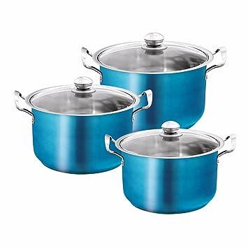 Aguamarina azul metálico de acero inoxidable olla de cazuela Set. Multiusos Cocina Hornear Horno. Cocina Platos 3pcs Set: Amazon.es: Hogar