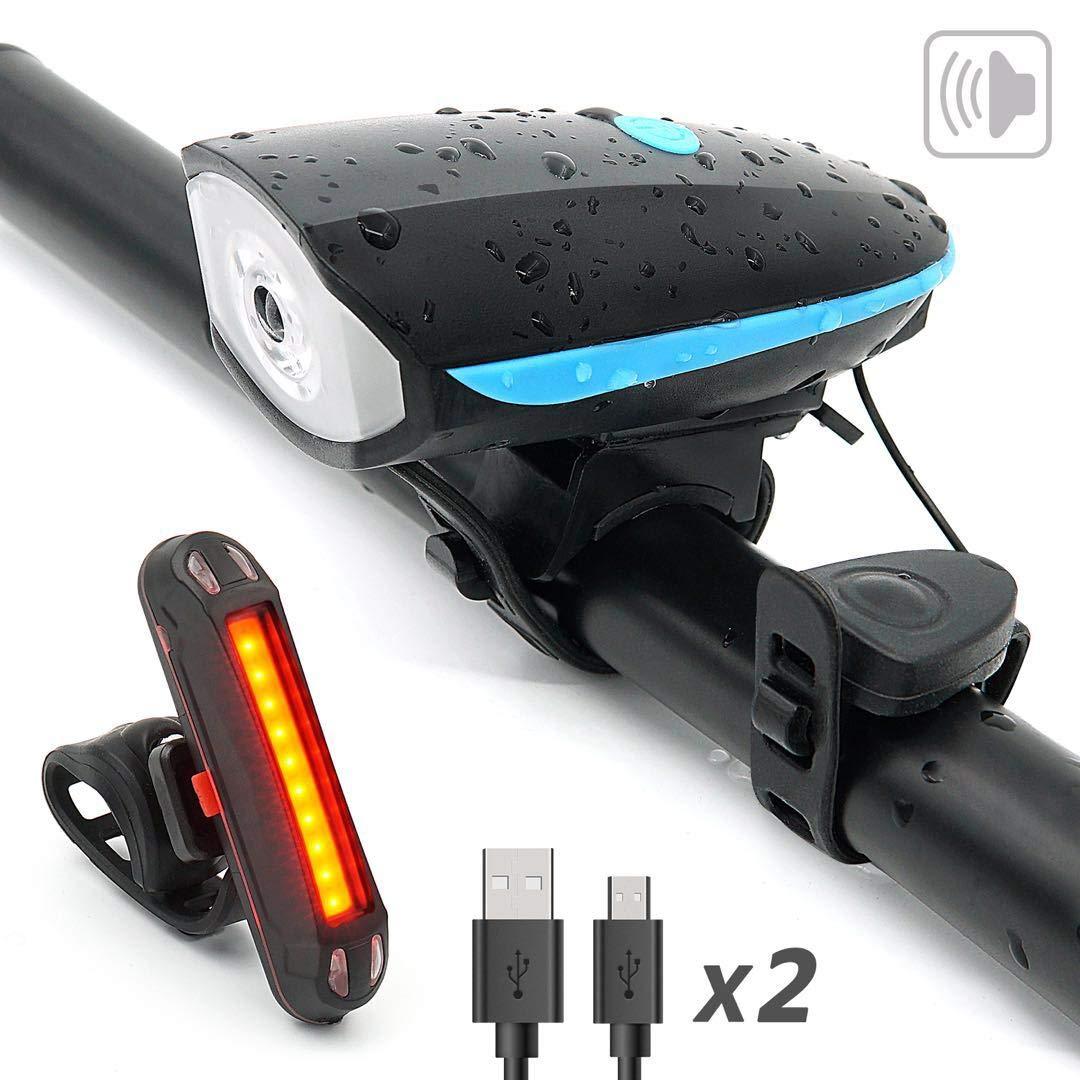 YHX Luz Bicicleta Recargable USB,Juego de Luces para Bicicleta,250LM 140dB Combinaci/ón de luz de Bicicleta Impermeable y luz Trasera