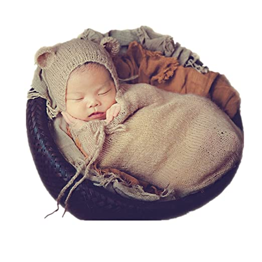 Fashion newborn boy girl baby costume knitted photography props hat sleeping bag beige