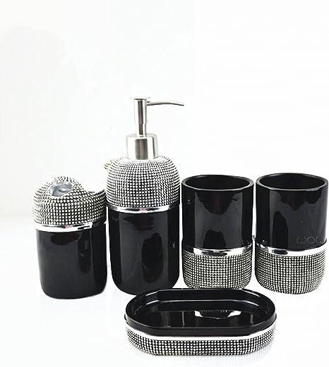 Amazon Com Haosen Six Ensemble Bath Accessory Set Black Silver Bead Kit 4 Pack Home Kitchen