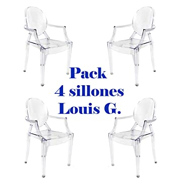 Oui Home - Pack 4 sillas Louis Ghost Transparentes