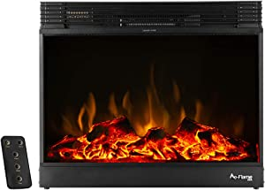 e-Flame USA Vermont Electric Fireplace Stove Insert with Remote Control - 3-D Effects and Crackling Fire (Black)